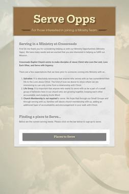 Ministry Opps