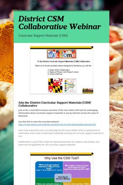 District CSM Collaborative Webinar