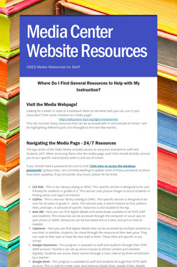 Media Center Website Resources