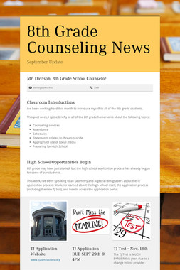 8th Grade Counseling News