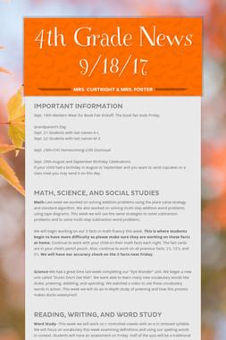 4th Grade News 9/18/17