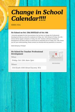 Change in School Calendar!!!!