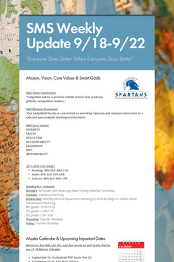 SMS Weekly Update 9/18-9/22