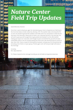 Nature Center Field Trip Updates