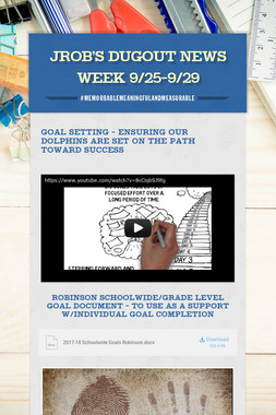 JROB's Dugout News   Week 9/25-9/29