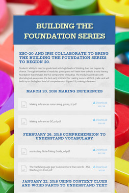 Building the Foundation Series