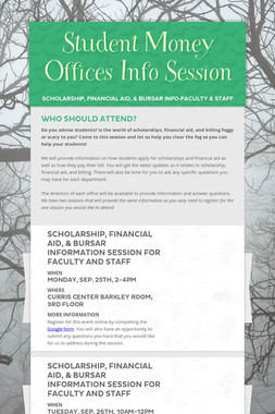 Student Money Offices Info Session