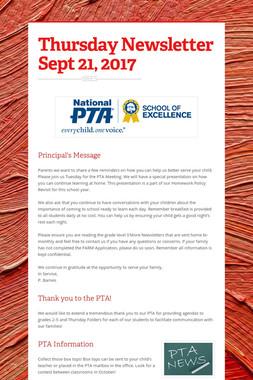 Thursday Newsletter Sept 21, 2017