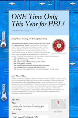ONE Time Only This Year for PBL!
