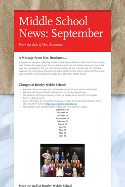 Middle School News: September