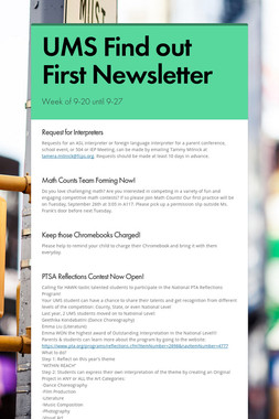 UMS Find out First Newsletter