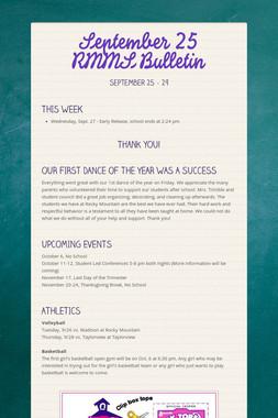 September 25 RMMS Bulletin