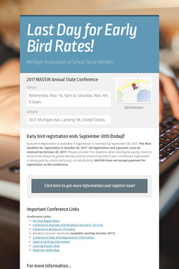 Last Day for Early Bird Rates!