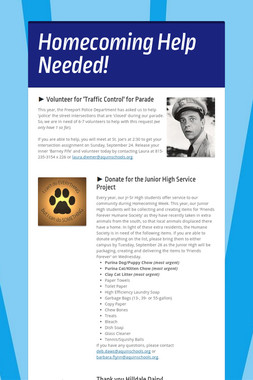 Homecoming Help Needed!