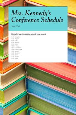 Mrs. Kennedy's Conference Schedule