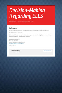 Decision-Making Regarding ELLS