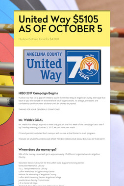 United Way  $5105 AS OF OCTOBER 5