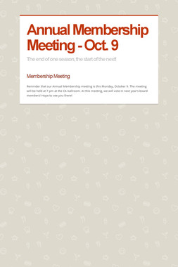 Annual Membership Meeting - Oct. 9