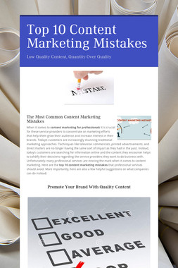 Top 10 Content Marketing Mistakes