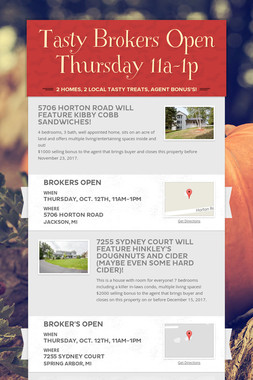 Tasty Brokers Open Thursday 11a-1p