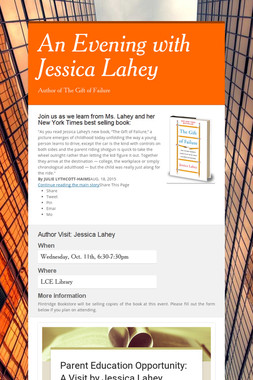 An Evening with Jessica Lahey