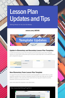 Lesson Plan Updates and Tips