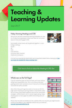 Teaching & Learning Updates