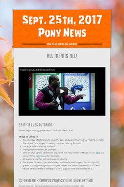 Sept. 25th, 2017 Pony News