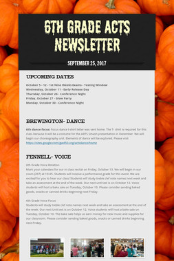 6th Grade ACTS Newsletter