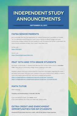 Independent Study Announcements