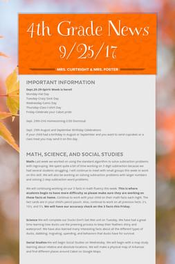 4th Grade News 9/25/17