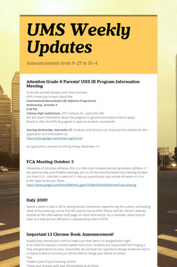 UMS Weekly Updates