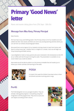 Primary 'Good News' letter