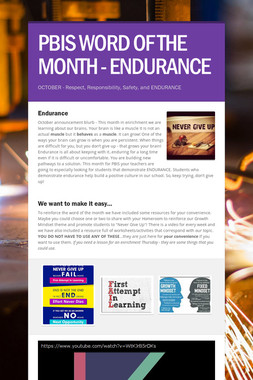 PBIS WORD OF THE MONTH - ENDURANCE
