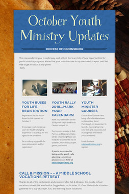October Youth Ministry Updates