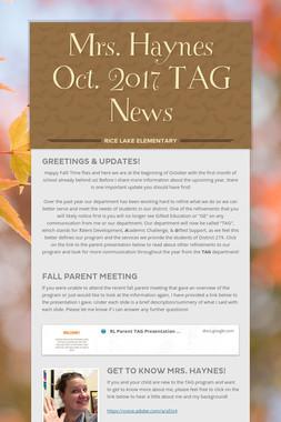 Mrs. Haynes Oct. 2017 TAG News