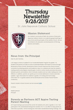 Thursday Newsletter 9/28/2017