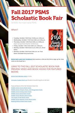 Fall 2017 PSMS Scholastic Book Fair