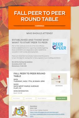 Fall Peer to Peer Round Table