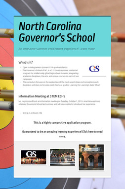 North Carolina Governor's School