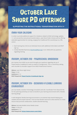 October Lake Shore PD offerings