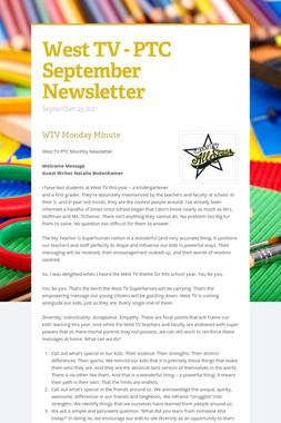 West TV - PTC September Newsletter