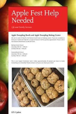 Apple Fest Help Needed