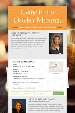 Come to our October Meeting!