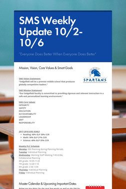 SMS Weekly Update 10/2-10/6