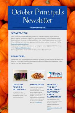 October Principal's Newsletter