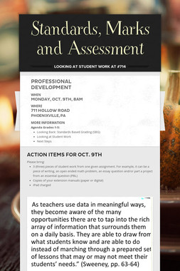 Standards, Marks and Assessment