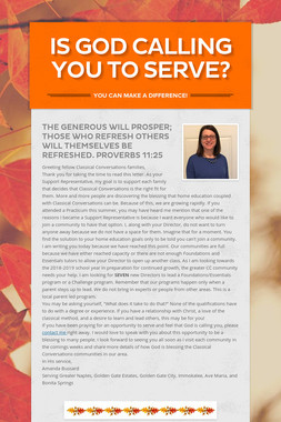 Is God calling you to serve?