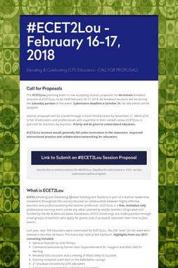 #ECET2Lou - February 16-17, 2018