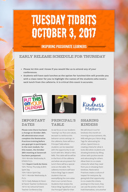 Tuesday Tidbits October 3, 2017